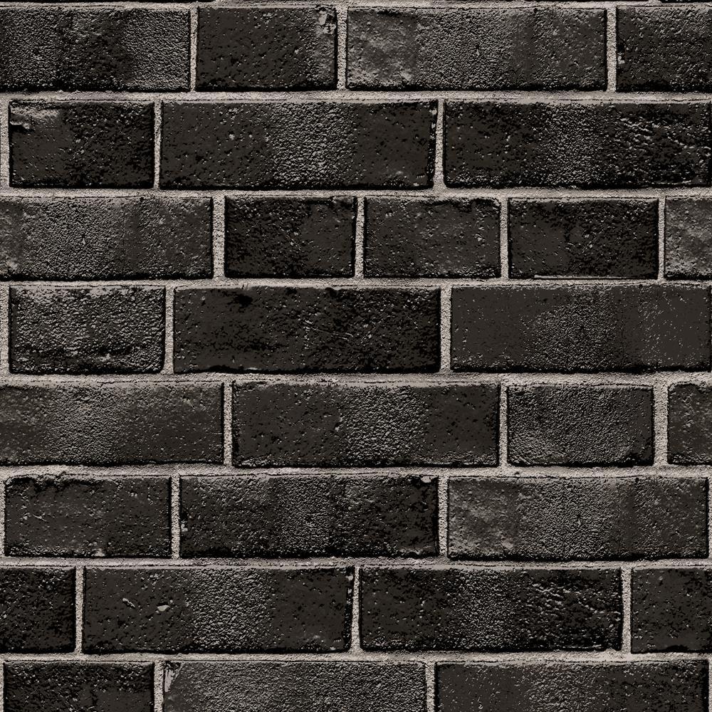 Tempaper Brick Ebony SelfAdhesive Removable Wallpaper