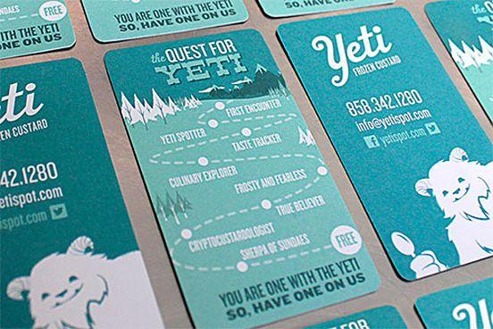 Yeti Frozen Custard Business Card Business Card Showcase