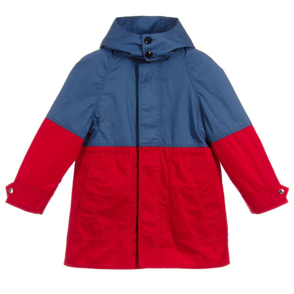 0fc634264 Red and blue showerproof car coat for boys by Burberry
