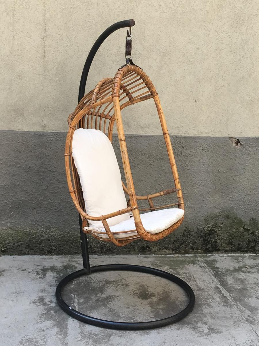 Mid Century Italian Rattan And Bamboo Hanging Chair 1950s 1 With
