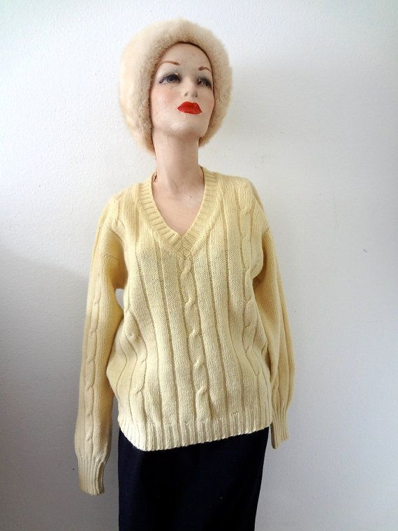 1960s Wool Sweater / buttercream cable knit v-neck pullover / vintage fall & winter fashion