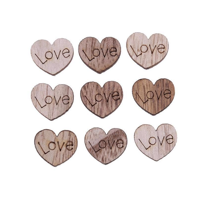 Wooden Heart Wedding Table Scatter Love Rustic Wood Crafts