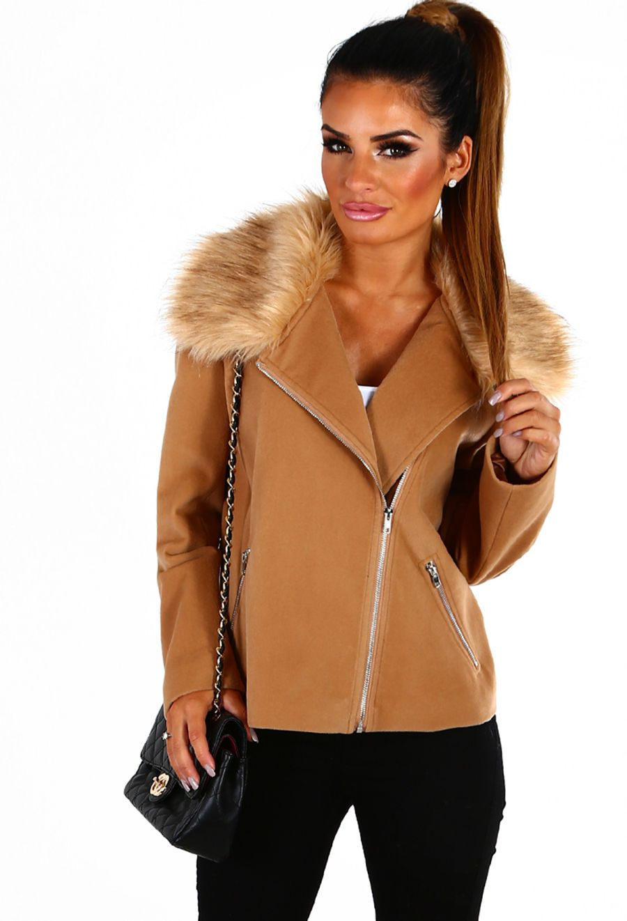 Camellia Camel Fur Trim Wool Biker Jacket And Lyn