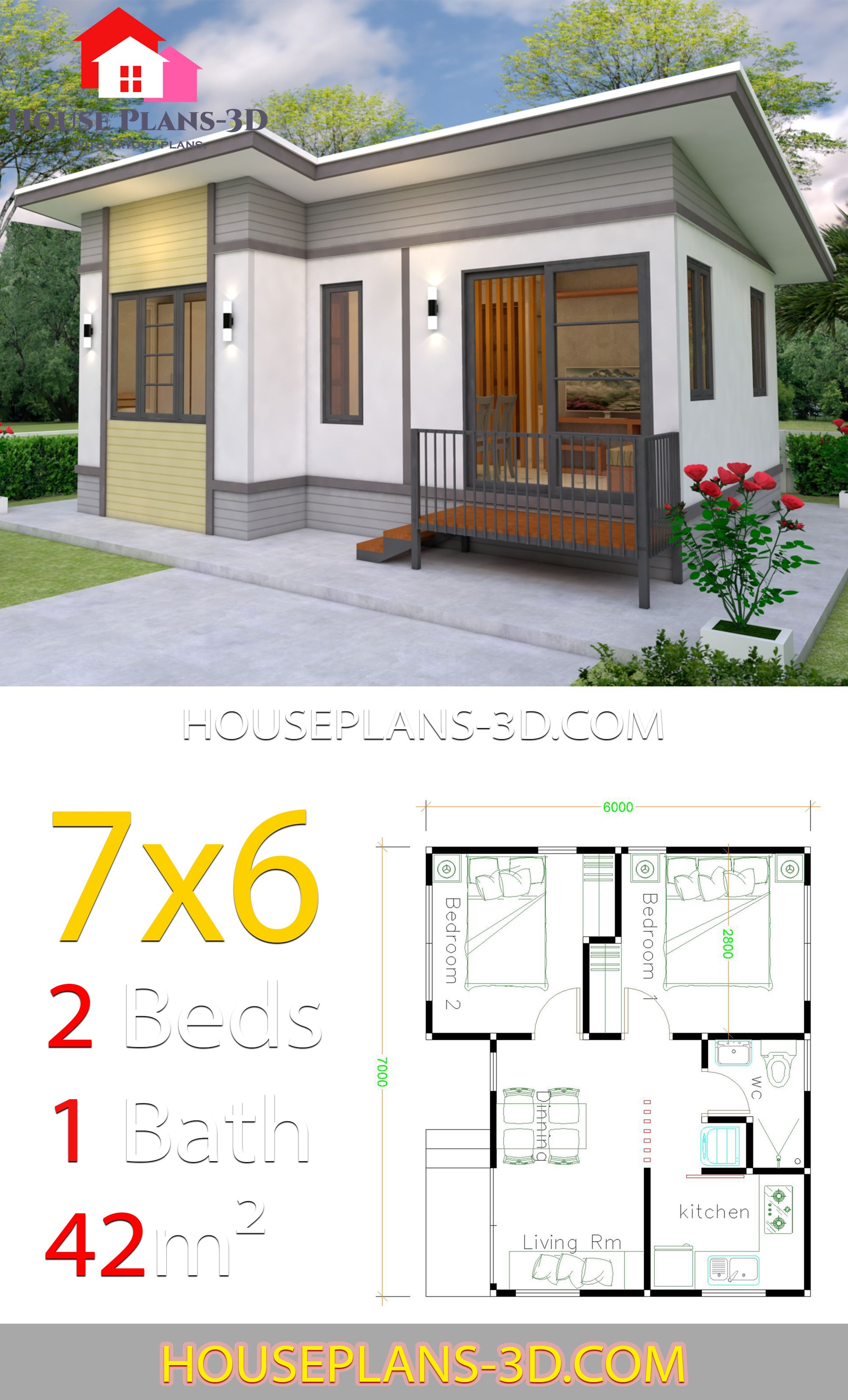 Small House Plans 7x6 With 2 Bedrooms House Plans Small House Floor Plans Simple House Design
