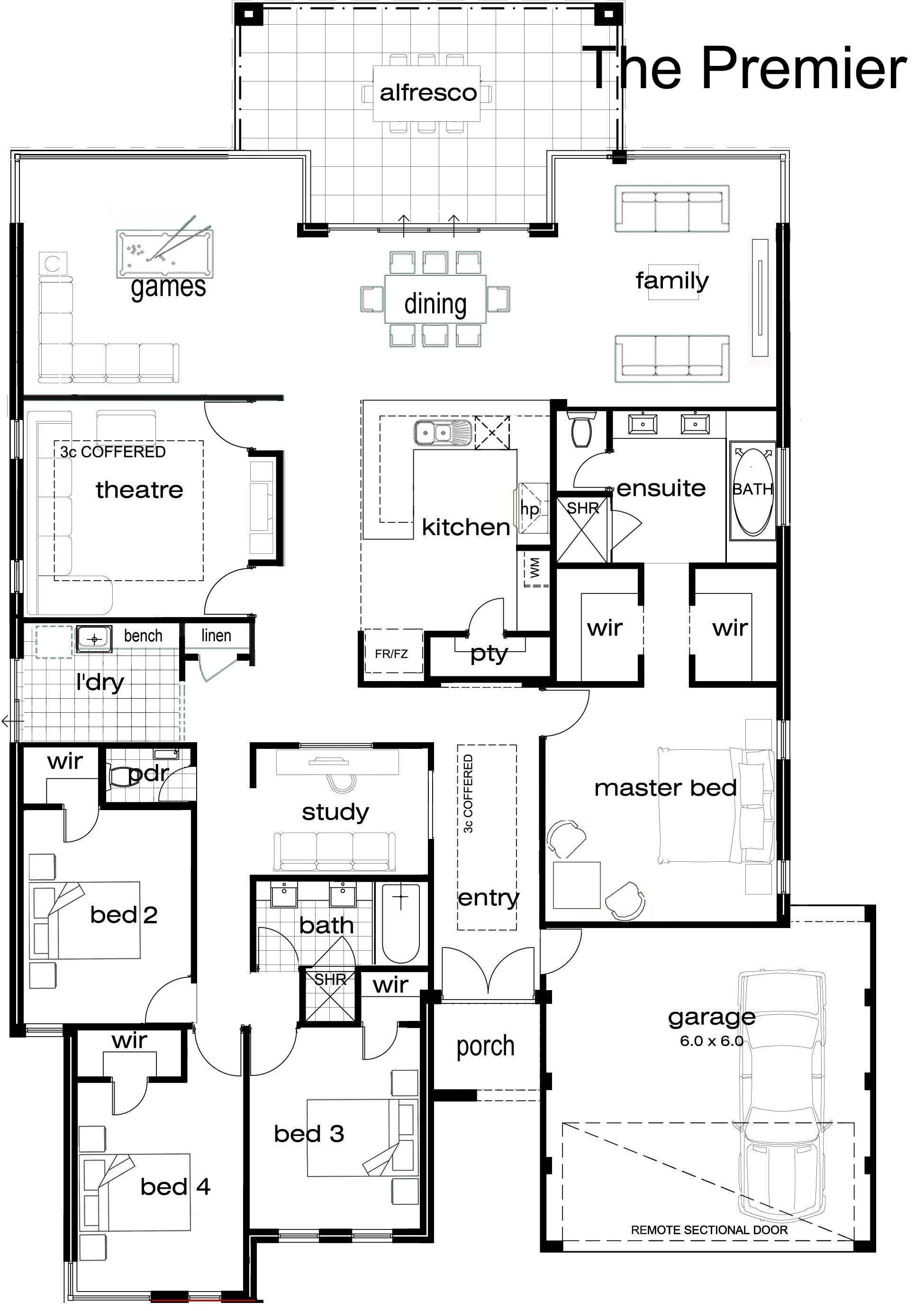 Single Story Luxury House Plans Single Story House Floor Plans New House Plans Basement House Plans