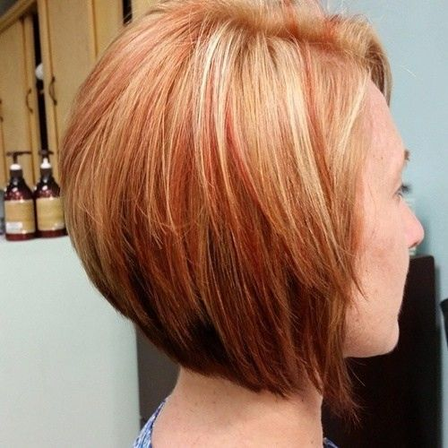 Blonde Bob Hairstyle With Red Highlights Straight Short