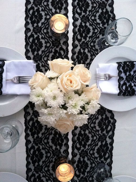Alfa img Showing Black Lace Wedding Table Black and white