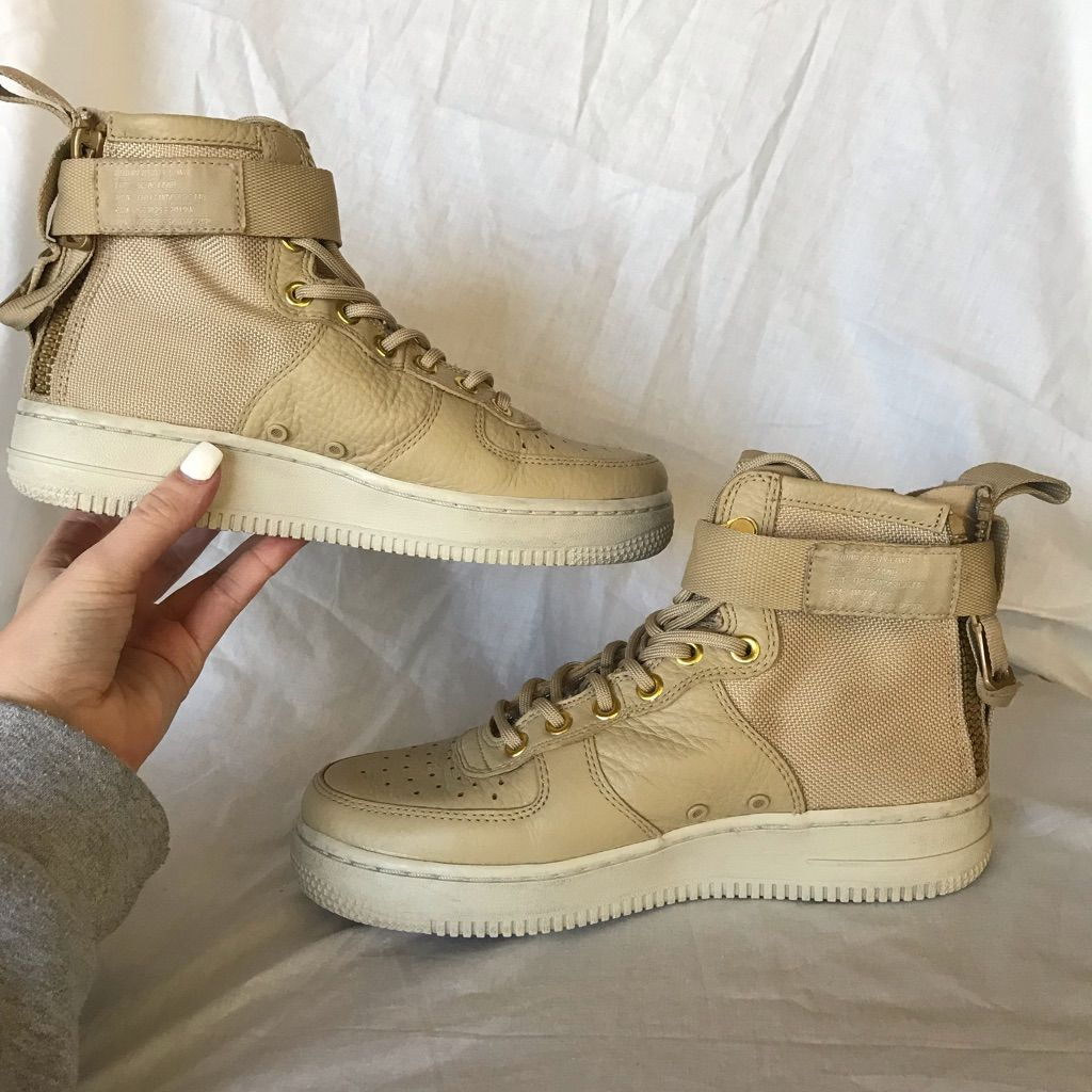 Nike Shoes | Nike High Top Air Force Ones | Color: Tan