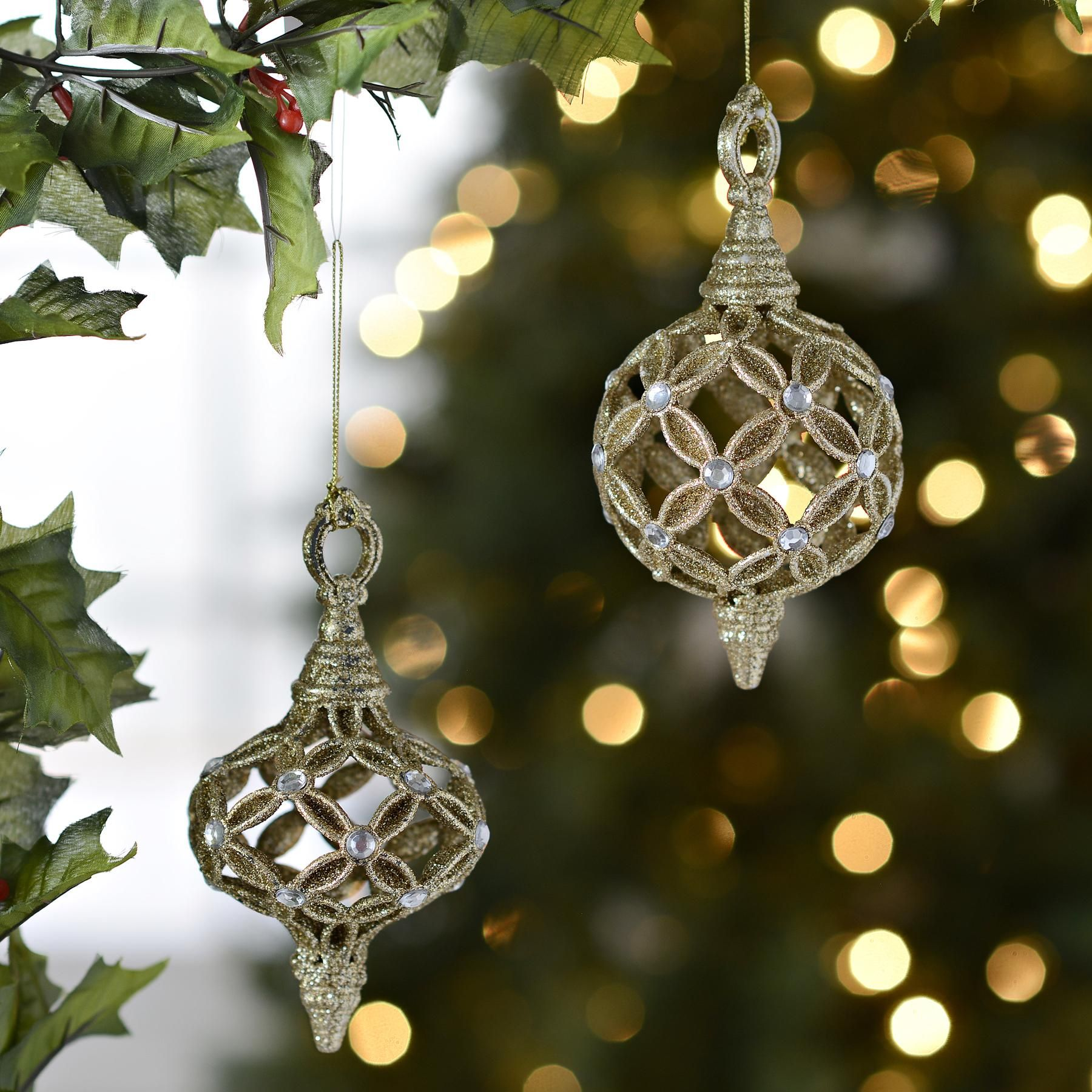 Champagne Open Work Finial Ornaments Set Of 2 Glitter Christmas Xmas Tree Ornament Ornament Set
