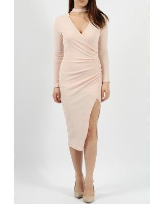931c2a4bd8 Choker Asymmetric Wrap Dress-Nude
