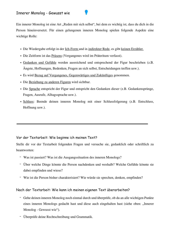 AB How To Innerer Monolog – Unterrichtsmaterial im Fach Deutsch in ...