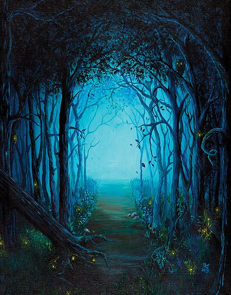 Blue forest an original acrylic painting 14x18 by by for Painting a forest in acrylics