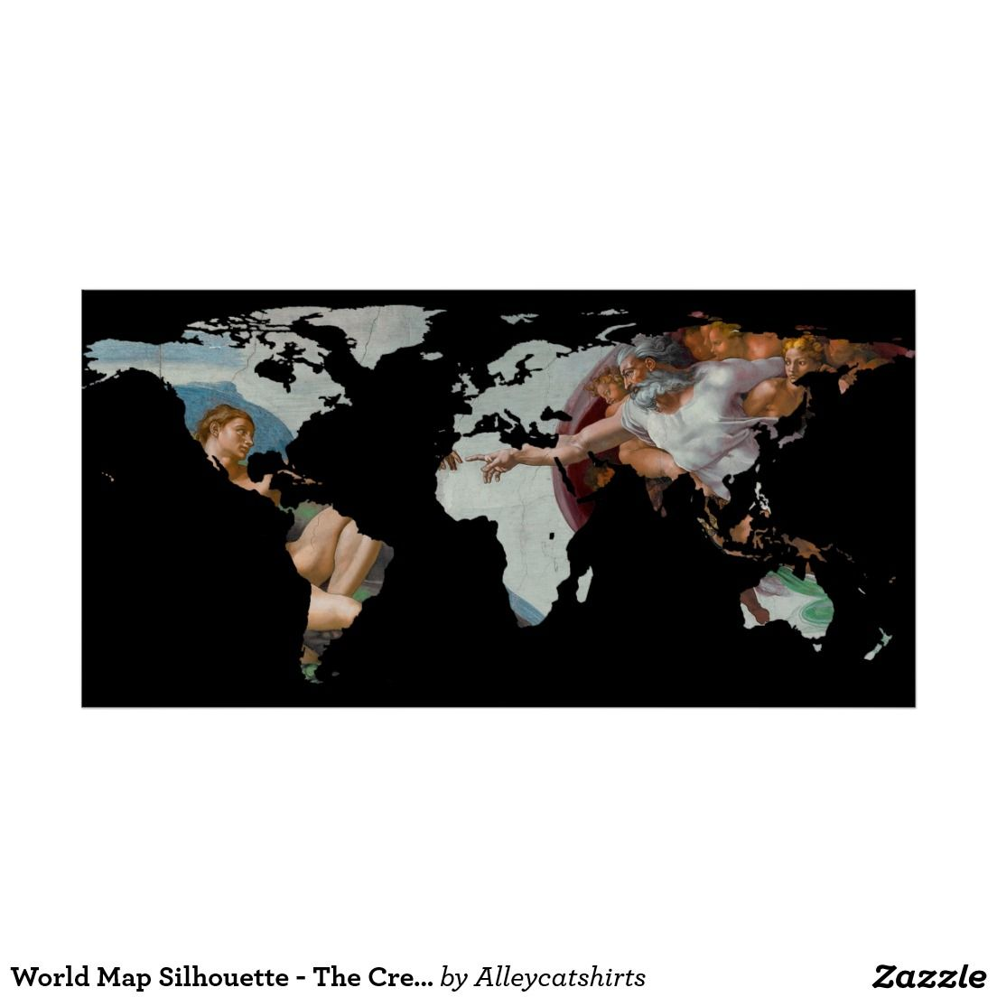 World Map Silhouette The Creation Of Adam Poster World Map - World map silhouette poster