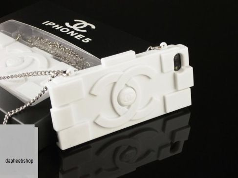 chanel inspired lego/ brick iphone 5/5S soft case with chain in white