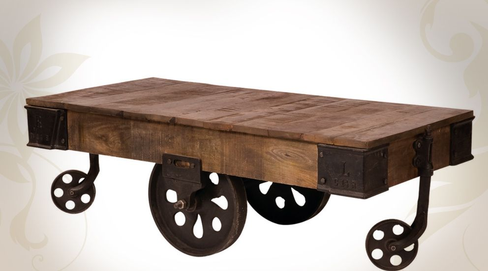 Table basse chariot en bois et m tal de style industriel for Table de salon industriel