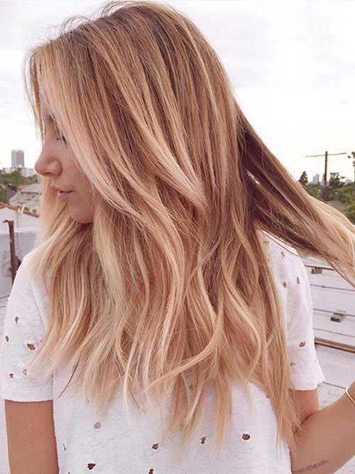 Lange Mittlere Blonde Hervorgehobene Frisur Frisuren Einfache