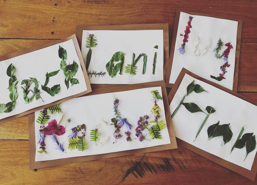 Exploring names and letters with natural materials   Nature letters