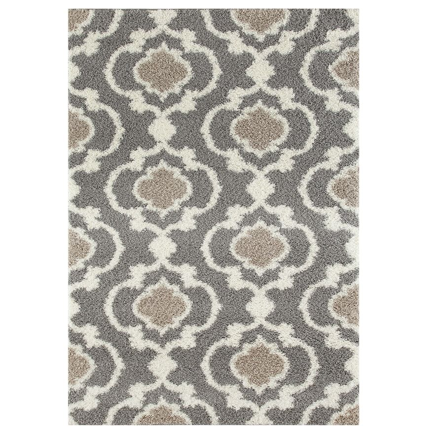 World Rug Gallery Florida Cozy Moroccan Trellis Shag Rug Grey Area Rug Cream Shag Rug Area Rugs