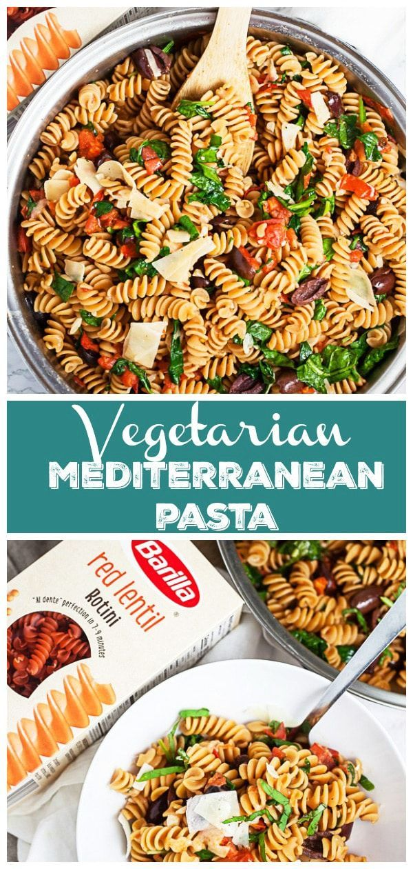 Vegetarian Mediterranean Pasta This Vegetarian Mediterranean Pasta makes a great easy and healthy dinner recipe Its full of fresh veggies and ready in less than 30 minute...