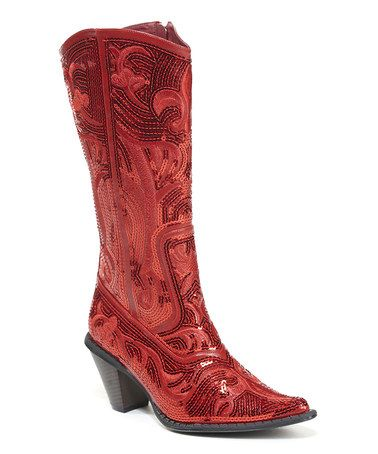 97f381b7159 Red Embroidered Cowboy Boot  zulilyfinds Dorothy won t need to get back to  Aunt  Em with these!
