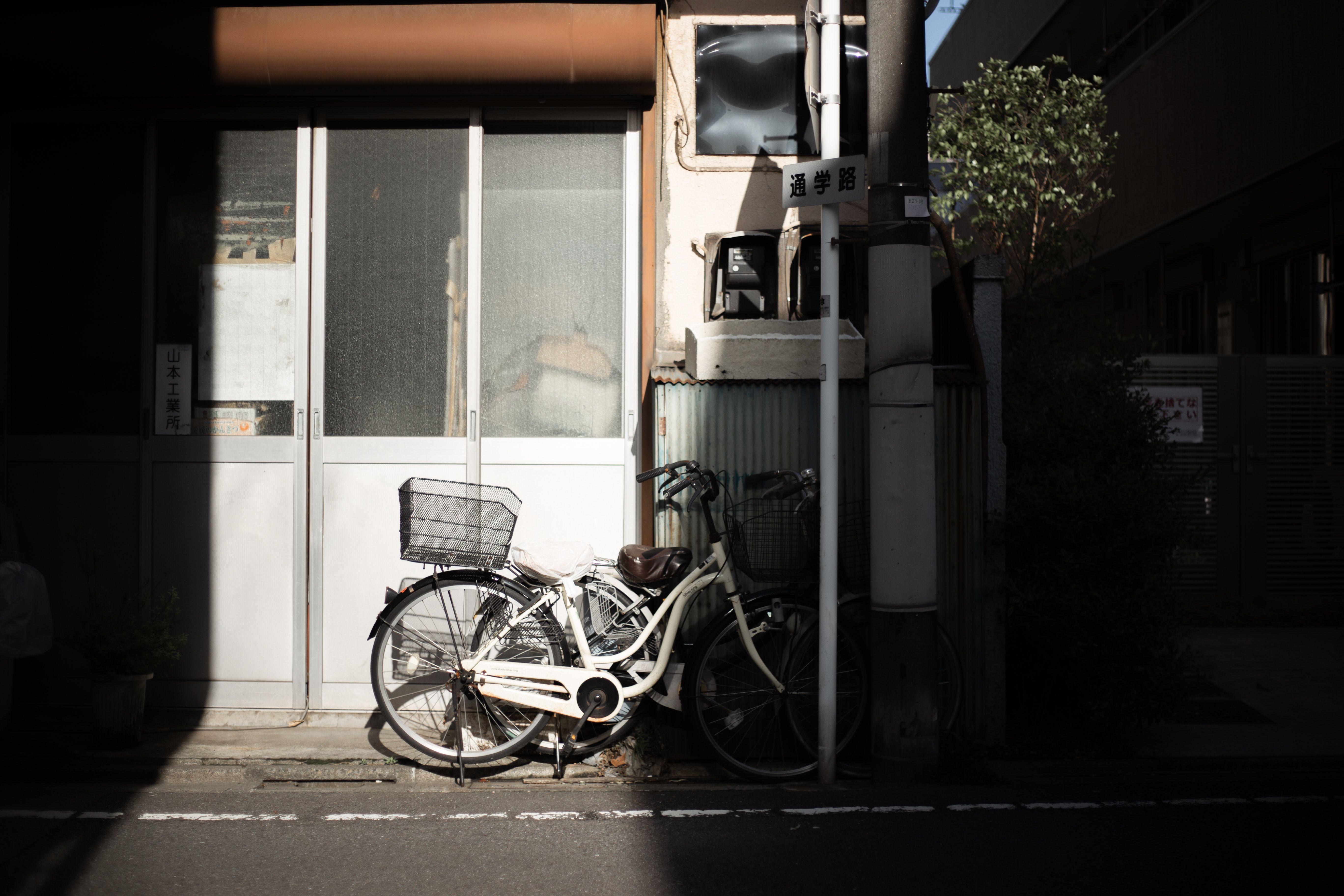 Bike Bicycle Vehicle White Bicycle Parked White Bicycle