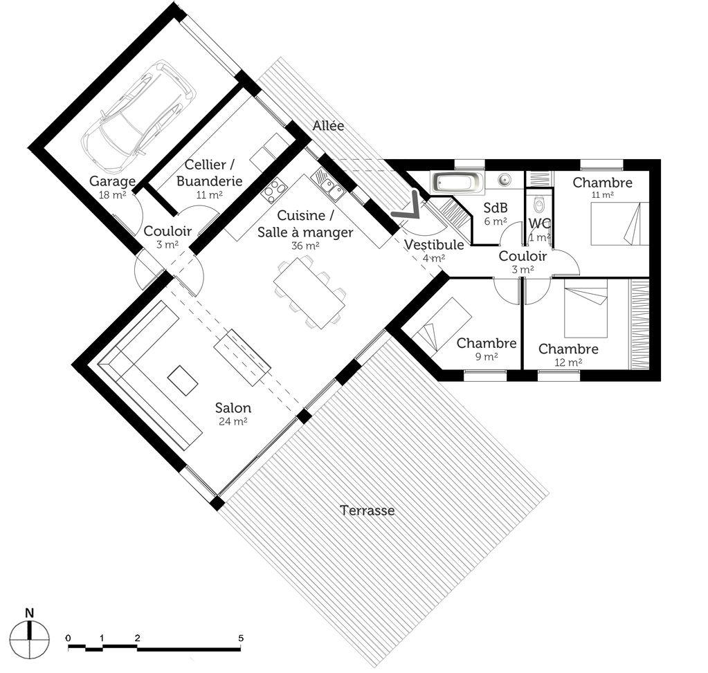 Plan au sol  Plan au sol, Plan maison, Maison en v