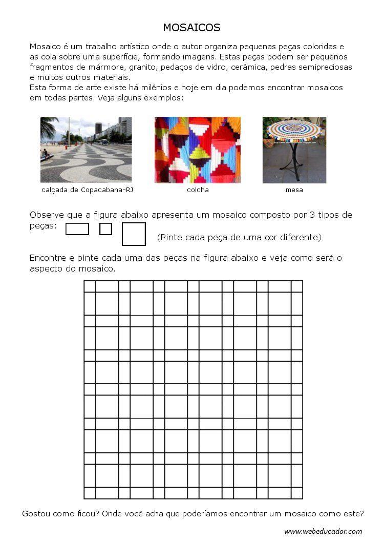 mosaicos | Atividades de 5º ano - Matemática | Pinterest ...