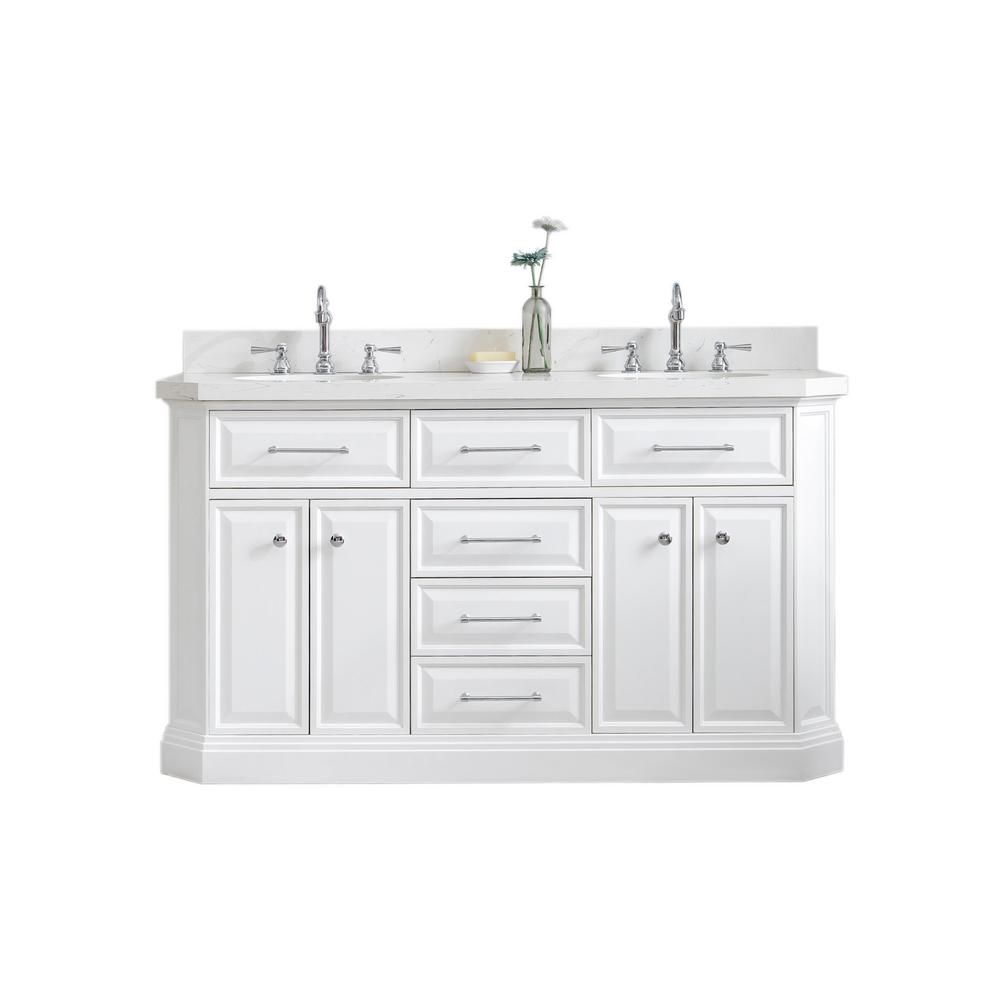 Water Creation Palace 60 In W Bath Vanity In Pure White With Quartz Vanity Top With White Basin And Chrome Mirror And F2 12 Faucet Pa60d 0112pw Bath Vanities Quartz Vanity Tops Vanity