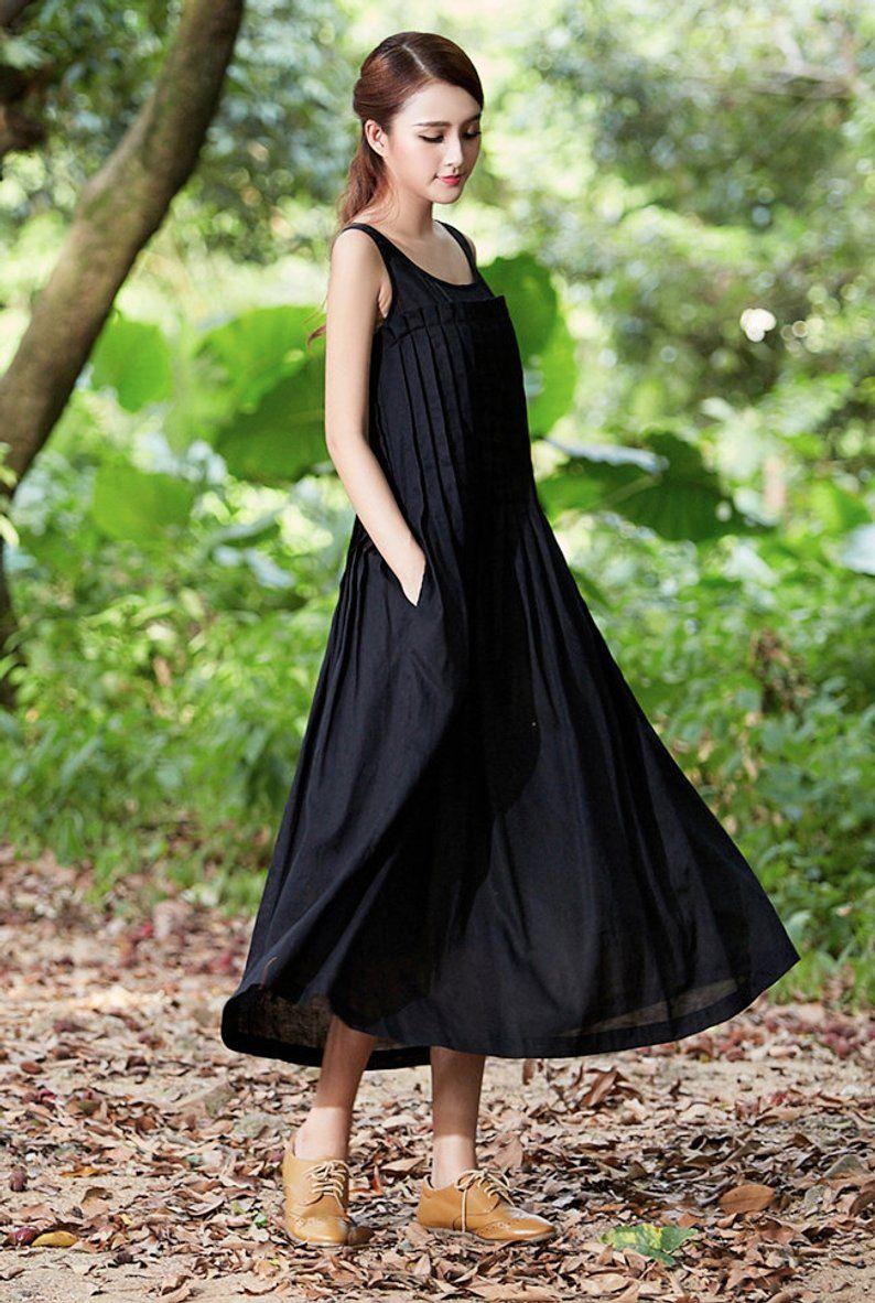 Linen Dress In Black Black Dress Maxi Dress Black Maxi Etsy Black Linen Dress Black Dress Linen Maxi Dress [ 1182 x 794 Pixel ]