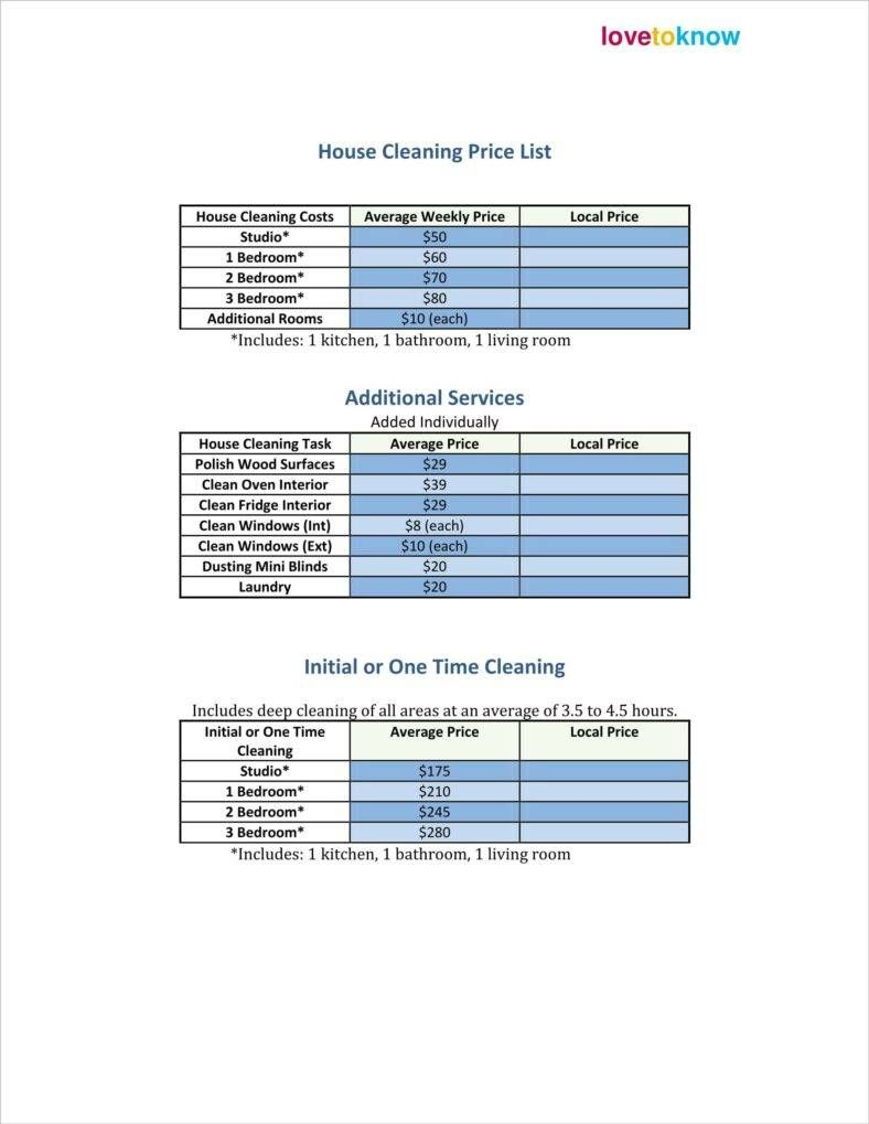 30 Price List Examples House Cleaning Prices Cleaning Services