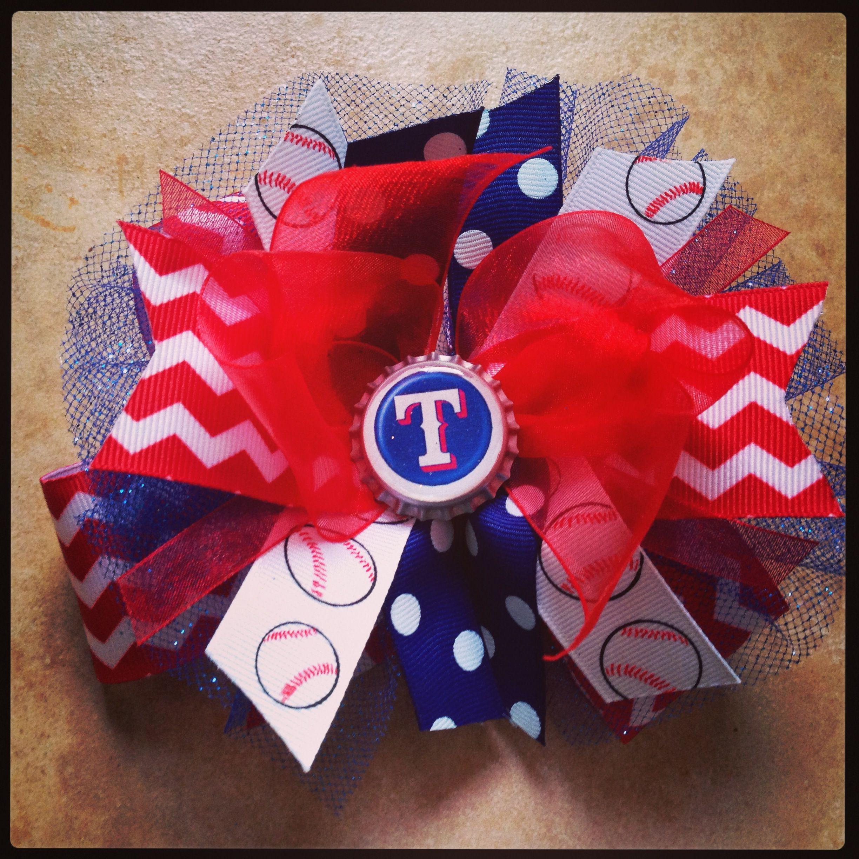 Texas Rangers Hair Bow Check Out Facebook Com Peytonsparlor Crafts Hair Bows Bows