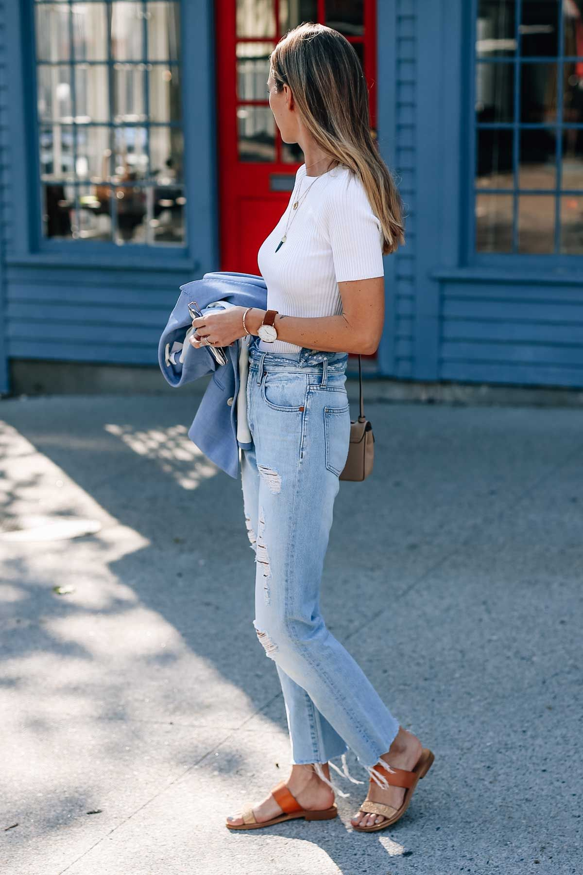 Jess Kirby wearing the Madewell Perfect Summer Jean and Leo & Sage White Knit Crewneck