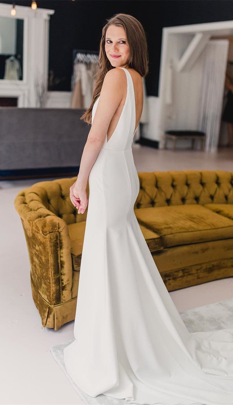 Long wedding dress  Mermaid Ivory Satin Backless Long Wedding Dress in   EmmaucThe