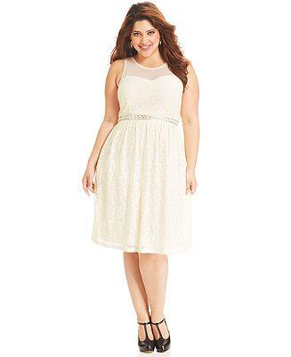 American Rag Plus Size Dress Sleeveless Lace Illusion A Line Plus