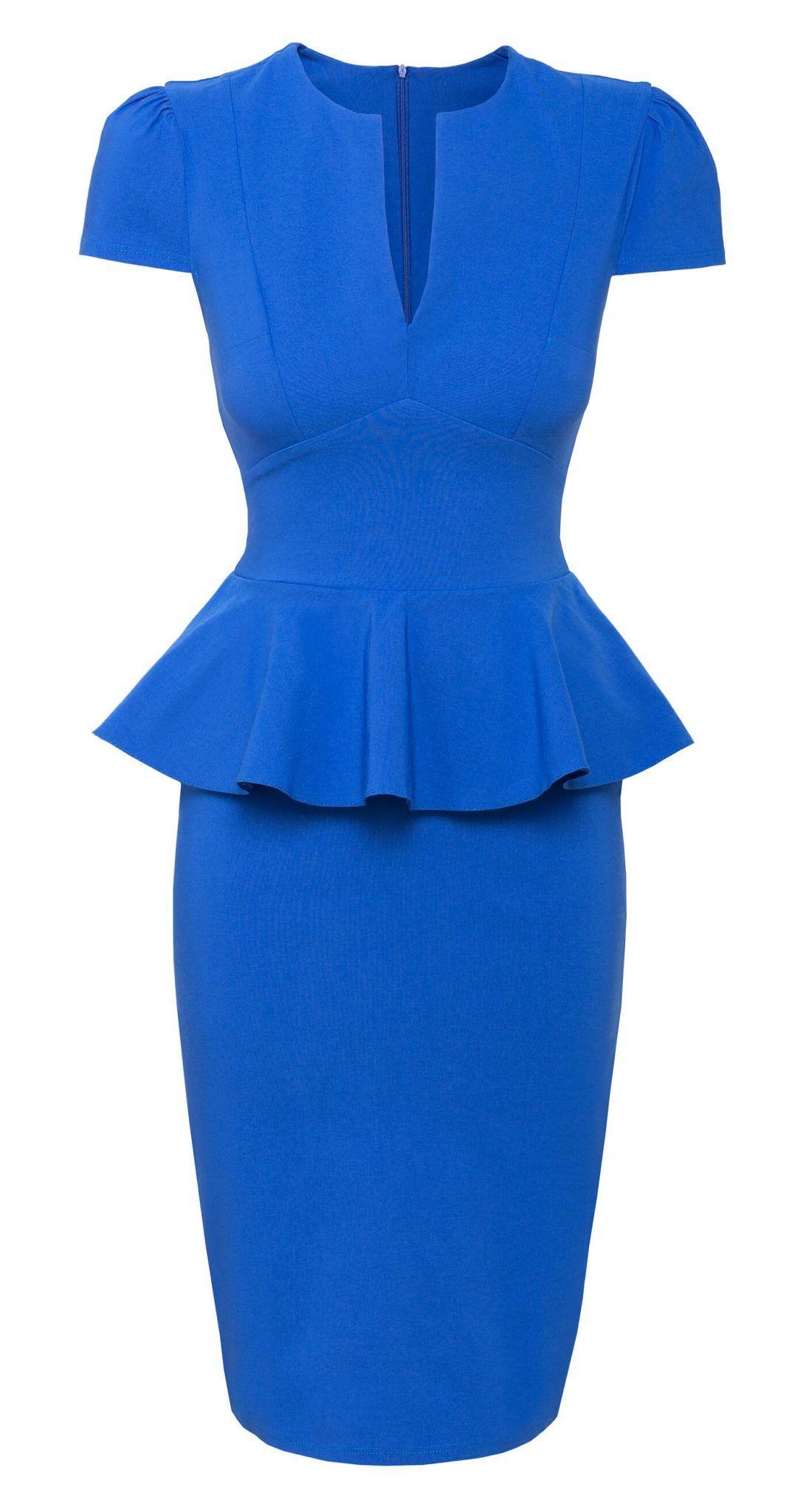 City Goddess  Kleid mit Schößchen - Royalblau  AMCO fashion  by