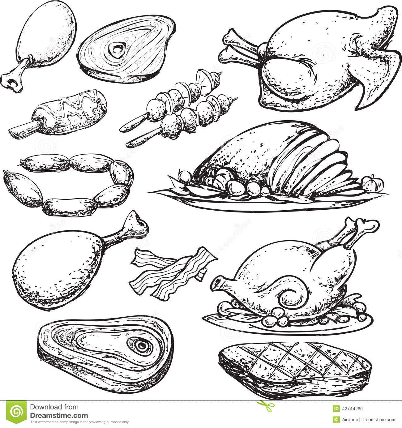Meat Doodle Stock Illustration Image 42744260 Meat Art Line Art Vector Meat Drawing
