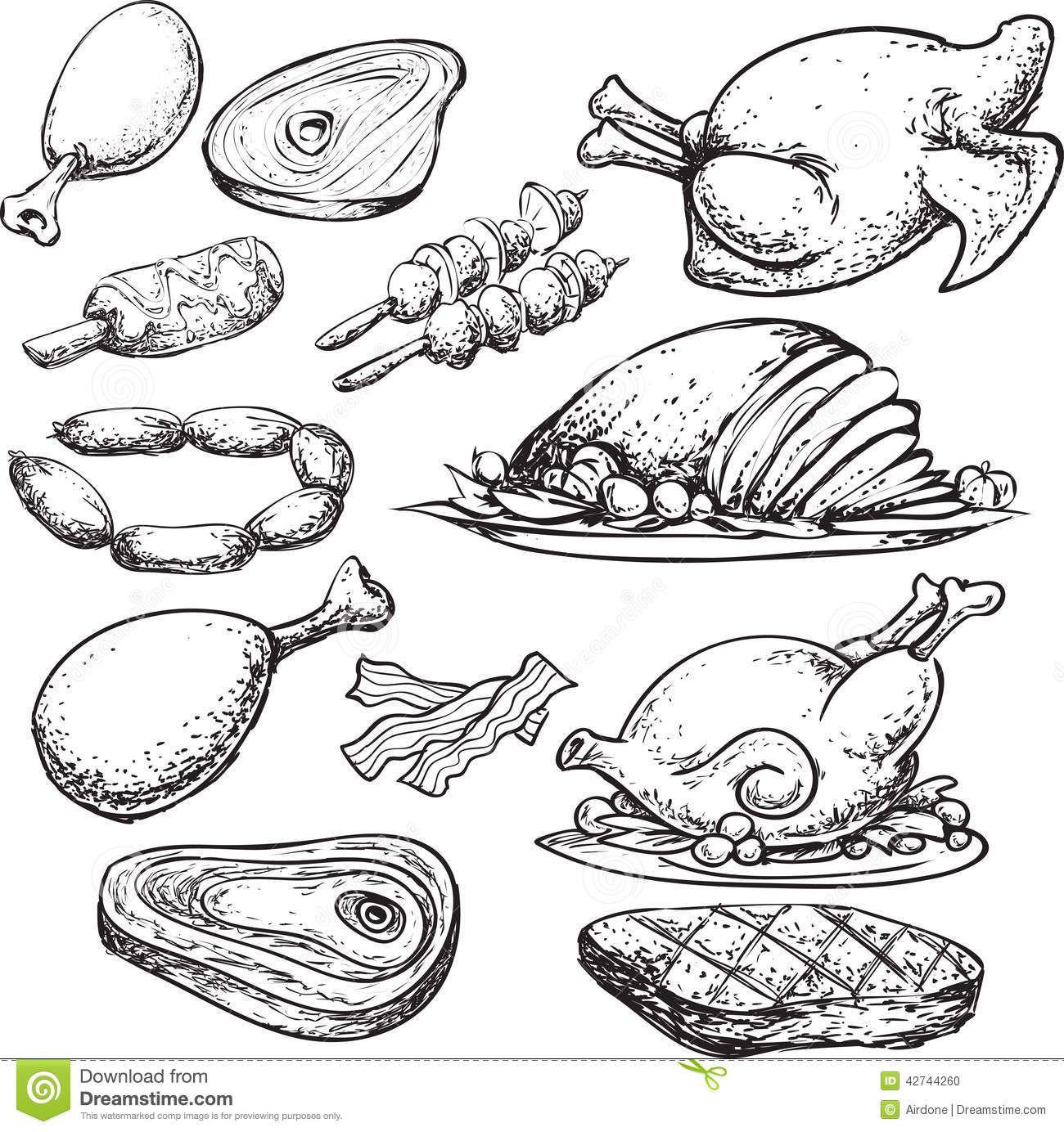 Meat Doodle Stock Illustration