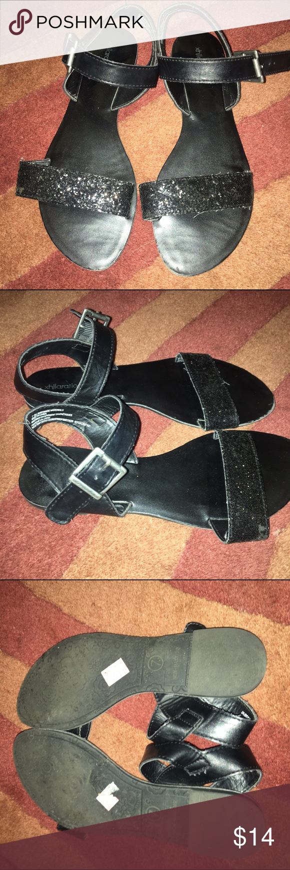 SPARKLY BLACK STRAPPY SANDALS Size 7, too big for me :( super cute though. Black glitter strap at toe and plain black ankle strap. Vegan leather. Worn only once. Shoes Sandals