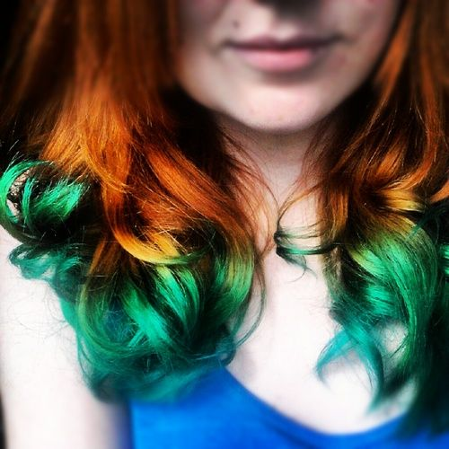 Natural Red Hair Turquoise Dip Dye Hair Colors Ideas Dip Dye Hair Colored Hair Tips Temporary Blue Hair Dye