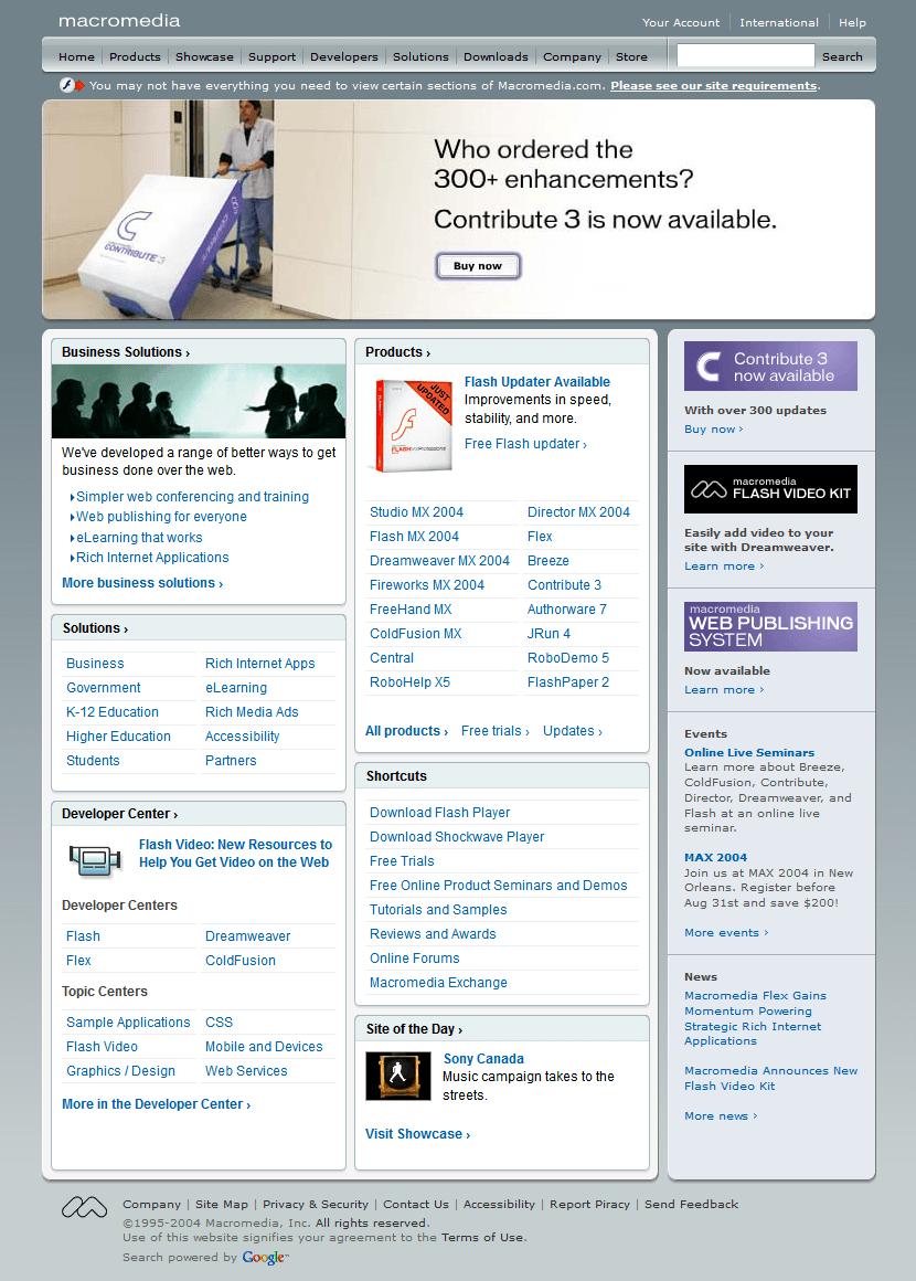 Macromedia Website In 2004 Web Design Design Museum Timeline