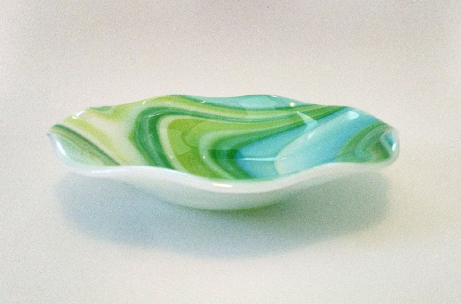 Turquoise Decorative Bowl Fused Glass Bowl  Blue Green Swirl  Fused Glass Dish  Fruit