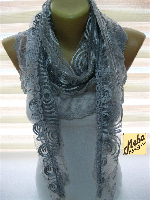 Lace Grey Scarf-gift Ideas For Her Women's by MebaDesign on Etsy