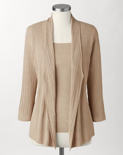 The vertical design influences and long lapel slim the silhouette. Bottom heavy women should wear a the same color pant or a darker pant for visual balance. Palazzo breeze cardi | Coldwater Creek