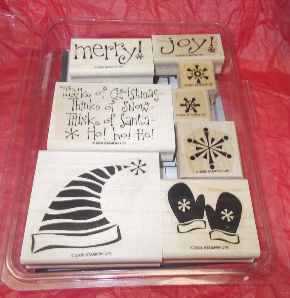 Rubber stamp set mittens Santa Claus hat snowflakes Stampin Up Merry ...