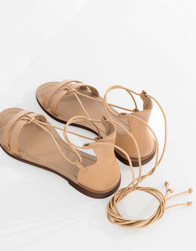 LEATHER SANDALS WITH LACES - New products - SHOES - PULL&BEAR Ukraine