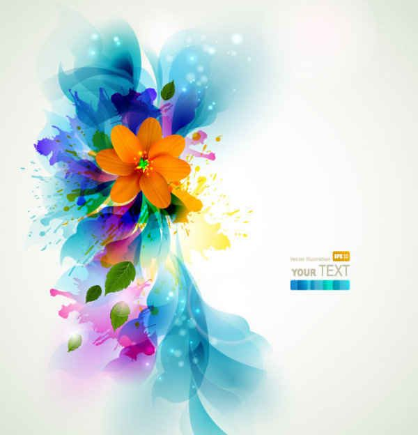 Colorful Blue flowers background Free Vectors Pinterest Vector art - blue flower backgrounds
