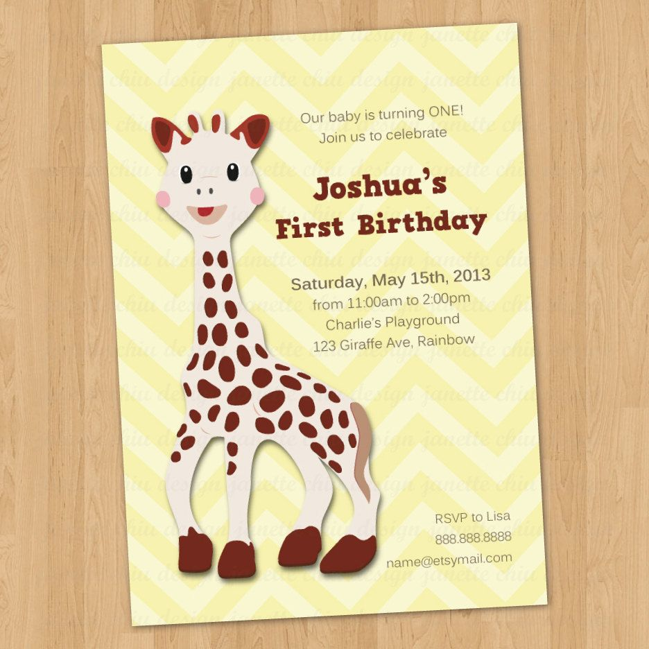baby giraffe sophie birthday party invitation by janettechiudesign