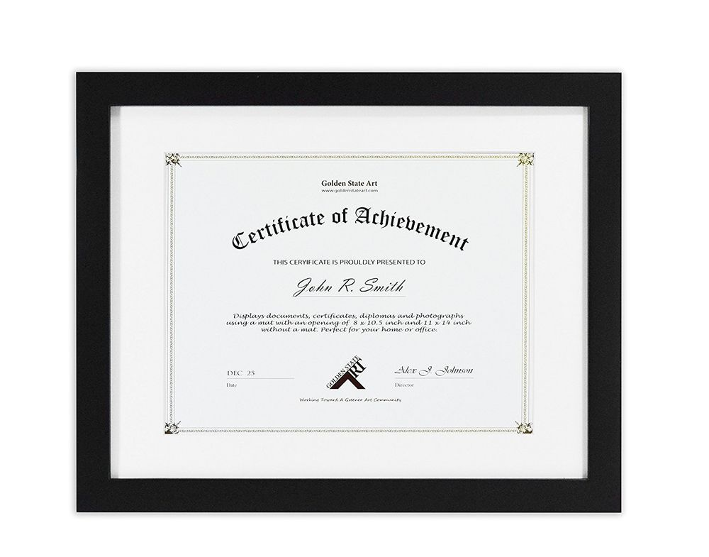 Details About Document Diploma Certificate Frame 11x14 Black Wood With White Mat For 8 5x11 Certificate Frames Picture Frame Quotes Frame