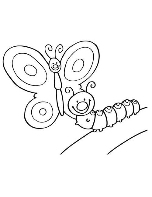 Coloriage papillon chenille coloriage pinterest - Papillon coloriage ...