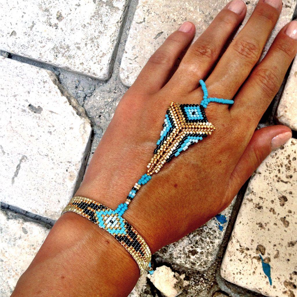 "Beautiful Peyote stitch ""slave"" bracelet. Wrist bracelet connected to a ring."